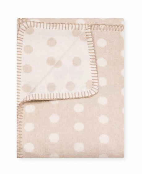 Kids Blanket  Cotton  Dots Art.22019 Beige Dabīgas kokvilnas pleds/sega bērniem 100x140cm,(B kvalitātes kategorija)