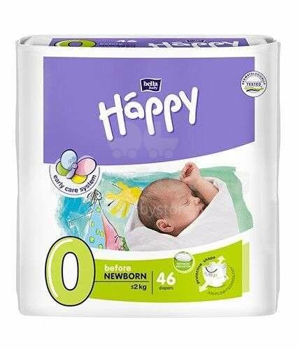 Happy Before Newborn Bērnu autiņbiksītes 0 izmērs līdz 2kg, 46gab.