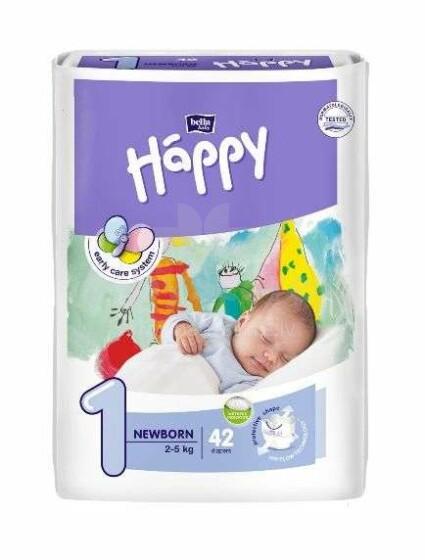 Happy Start Newborn Bērnu autiņbiksītes 1 izmērs no 2-5kg, 42gab.